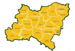 """Mapa obszaru LGD """"Kraina Wielkiego Łuku Warty"""""""